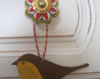 Wooden bird mobile