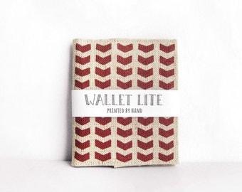 Hand screenprinted Linen Wallet · Red chevron pattern · Gift for him · Fabric Billfold wallet