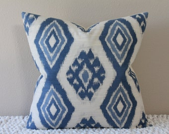 "Thom Filicia for Kravet - Rigi Ikat Print in Ink - Blue and Cream - 18"" - 22"" Square Sizes - Decorative Designer Pillow Cover"