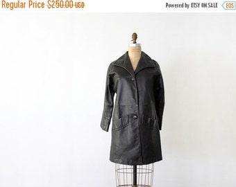 SALE 1970s black leather jacket,  women's three quarter coat