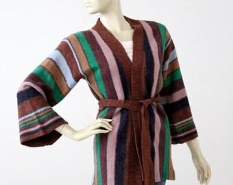 1970s hippie sweater, vintage wrap cardigan