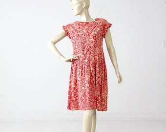SALE vintage batik print dress with drop waist, 1960s red cotton sundress