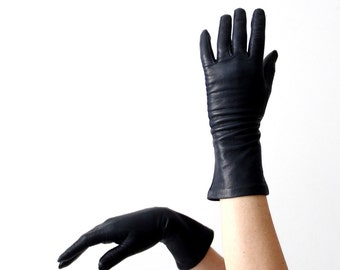vintage navy leather gloves, 60s classic length driving gloves