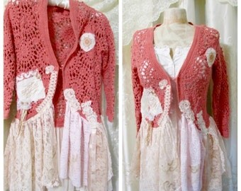 Coral Sweater, OOAK romantic shabby lace embellished shabby and chic pink lace