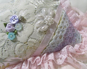 shabby chic clutch bag, romantic victorian, handheld make up cosmetic bag, frilly pink ruffle lace, satin brocade pastels fabric pocketbook