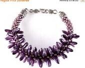 ON SALE Purple Kumihimo Spiked Bracelet, Czech Dagger Beads, Seed Beads, Japanese Weaving