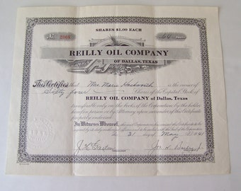 Vintage Stock Certificate 1941 Reilly Oil Company Shares Of Stock Memorabilia Capital Stock