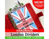 HANDMADE Personal Size Cute Kawaii London Dividers 5 Top Tabs for Filofax Organizer Planner