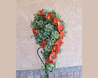 Succulent Orchid Bouquet, MADE TO ORDER, Faux Succulents Bouquet, Sage Green and Orange Bouquet, Succulent Wedding,Cascading Bouquet