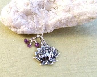 Sterling Silver Lotus & Amethyst Necklace-Zen