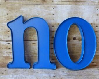 Blue Channel Letter Large Vintage Sign Letters E- L - N - O Industrial Decor - Staging - Prop