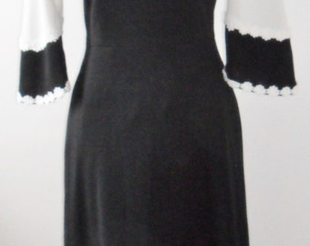 1960s Black and white maxi dress