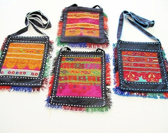 Tribal Shoulder Bags with Double Sided Pashtun Hand Embroidery from Afghanistan-Lot of 4