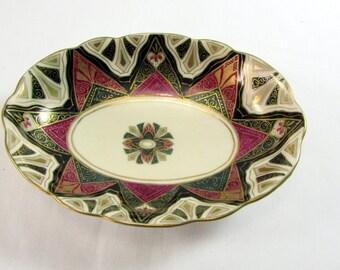 Vintage Alhambra Vienna Australia Hand Painted Porcelian Candy Dish Art Deco