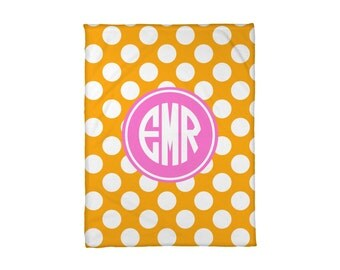 Fleece Blanket Personalized Monogrammed Polkadots Polka Dots Choose Colors