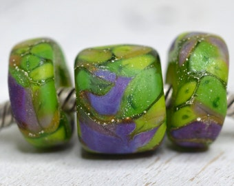 lime and lavender... big hole beads ....Euro style glass trio of lampwork beads, for european charm bracelets... SRA handmade P71216-6
