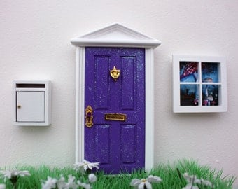 Opening purple fairy door, miniature white mail box and fairy window