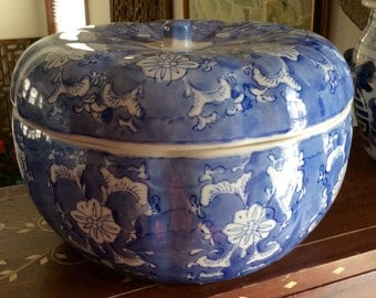 Hand Painted High Fired Blue and White Porcelain Storage Jar with Lid.