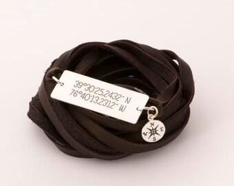 BOHO style Coordinates sterling silver/leather bracelet, custom engraved coordinates/text, Handmade Traveler bracelet, nautical Compass gift