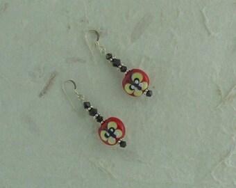 SALE: RED BLACK Butterfly Lampwork w/ Swarovski Crystal Sterling Silver Earrings