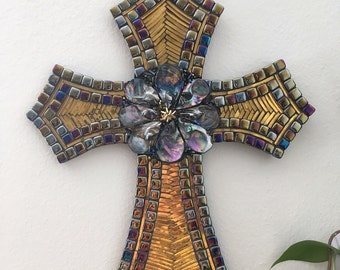 Black and Gold Mosaic Cross
