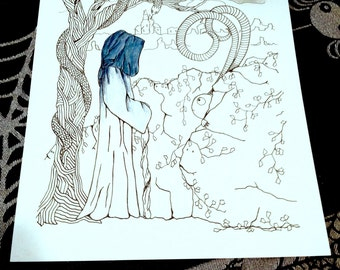 Halloween Fantasy Adult Coloring Page Kids Original Art Therapy Spooky Fairy Tale