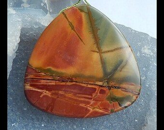 Large Focal Pendant,Multi Color Picasso Jasper Pendant Bead,48x48x10mm,43.52g