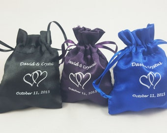 Favor Bag Satin Wedding Personalized Heart Design - 30ct
