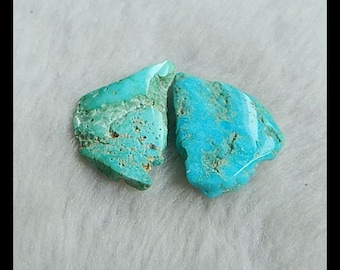 Nugget Turquoise Cabochon Pair,27x20x5mm,29x18x4mm,6.9g