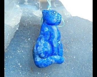 Carved Lapis Lazuli Cat Gemstone Pendant Bead,42x22x9mm,13.81g