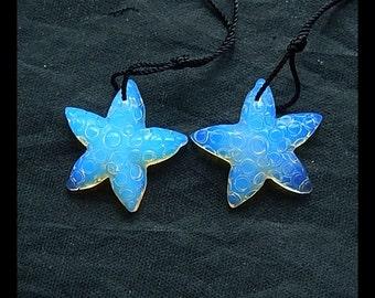 Carved Opalite Starfish Earring Bead,22x21x5mm,4.1g