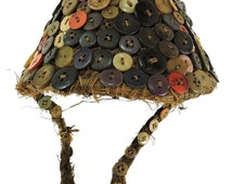 Lega Hat with Buttons on Basketry Bwami Society Congo African 101398