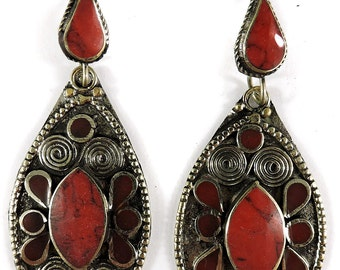 Earrings Silver Red Stone Insets Afghanistan 104934