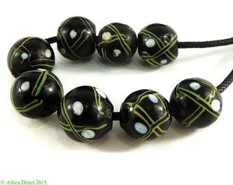 8 Venetian Trade Beads Black Criss Crossed African 97487