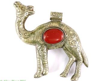 Tibetan Silver Repoussee Pendant Camel 5.25 Inch 102785
