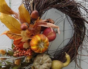 Autumn Wreath  Harvest Wreath  Thanksgiving Wreath  Pumpkin Wreath  Twig Wreath  Fall Wreath  Home Decor  Festive Wreath