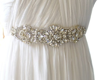 Silver Crystal Bridal Sash. Rhinestone Applique Wedding Belt. Gold Pearl Wedding Sash. AMELIA
