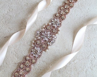 "Rose gold Bridal Crystal Pearl Sash. 24"" Luxury Rhinestone Applique Wedding Dress Belt. Blush, Pink Bridal Trim. VINTAGE MODE II"