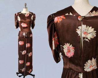 1930s Dress / 30s Floral Liquid Satin Gown / Open Back / Mesh Front Slit! Rare!