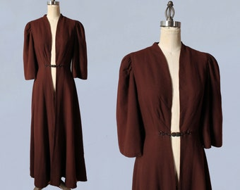 RESERVED 1930s Coat / Elegant 30s Chocolate Brown Wool Lightweight Coat / Full Length / M