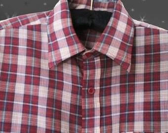 Men's Vintage Plaid Shirt - 60s Casual Button Down Long Sleeve - 1960s