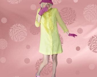 Short Loose Dress, Mod A Line, 60s Voile Dress, Yellow Mod Mini, Vintage 60s Cotton Dress, Loose Cotton Dress