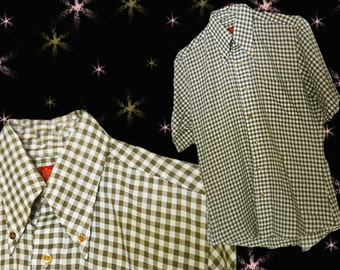 Men's 60s Vintage Short Sleeve Shirt - 1960s Tapered Button Down Gingham Shirt