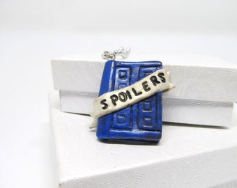 River Song Doctor Who Necklace, Whovian Jewelry, Blue Polymer Clay Piece, Fandom Pendant