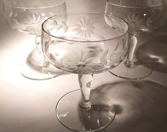 3 Vintage Champagne Coupes with Cut Floral Design