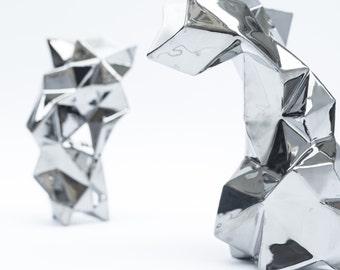 Metallic silver  modern geometric porcelain Vase - contrmporary ceramic design