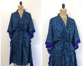 SALE Vintage 1980s 1990s Scarf Caftan Draw String 80s 90s Blue Green