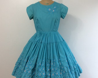 1950s Square Dance Dress 50s Blue Silver Embroidered Patio Western Wear