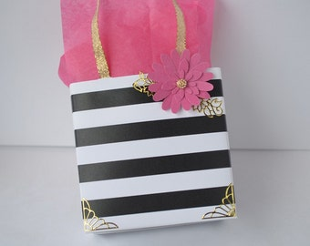 Black and white stripe favor bag