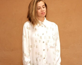 vintage ALPHABET white silky ABC's all over print long sleeve vintage button up down blouse shirt